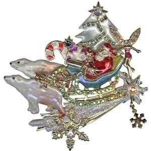 Kirks Folly Polar Bear Express Christmas Pin Pendant Jewelry