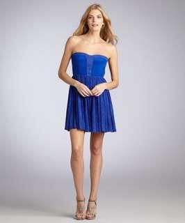 Greylin peacock blue textured Socialite pleated strapless dress