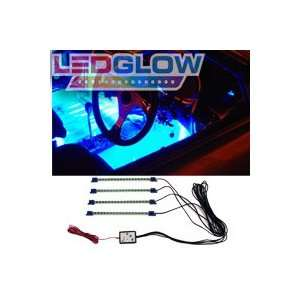 4pc. Blue LED Interior Underdash Lighting Kit Automotive