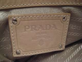 PRADA Large Beige Calfskin Leather New Look Tote Handbag