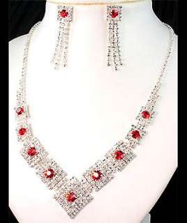 Wedding Diamante Red Crystals Necklace Earrings Set Prom 34