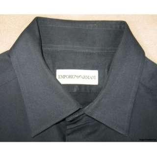Emporio Armani $495 Mens Shirt 15.5/S/35 36 Black Slim Fit Italian