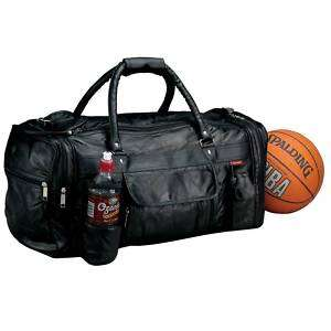 23 Black Leather Sport Gym Night Travel Duffle Bag NWT
