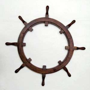 Boat Ships Steering Wheel Teak Wood Picture Frame 36 Nautical Wall